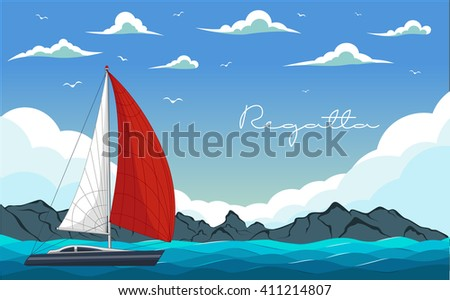 Yacht regatta. Sea and Ocean Travel Element. Sport and Holiday Template. - stock vector