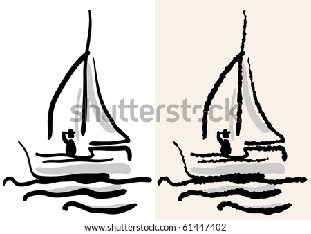yacht. rough and smooth - stock vector