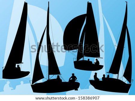 Yacht sports sailing boat detailed collection vector background illustration - stock vector