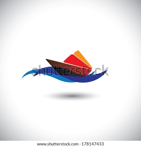 yacht vector icon - colorful cruise on blue ocean waters. This graphic illustration also represents beach tourism, cruise travel, cruise holiday packages, sea travel companies, etc - stock vector