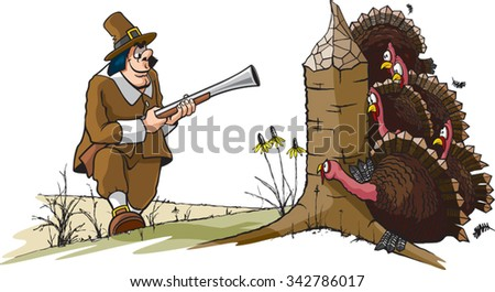 Ye Old Turkey Hunt A cartoon of a Pilgrim hunting Turkeys. Layered vector file available. - stock vector
