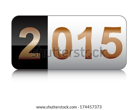 year 2015 button  - stock vector