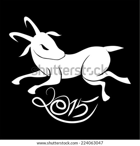 Year of the Goat. Illustration of  White Goat on Black  background. - stock vector