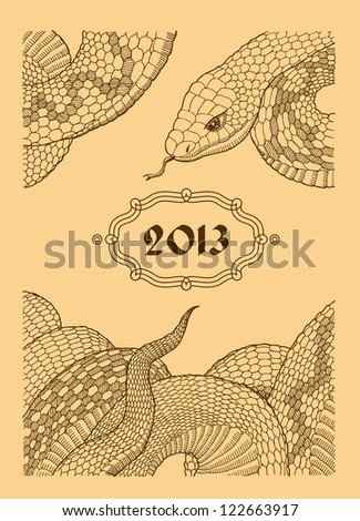 year of the snake - stock vector