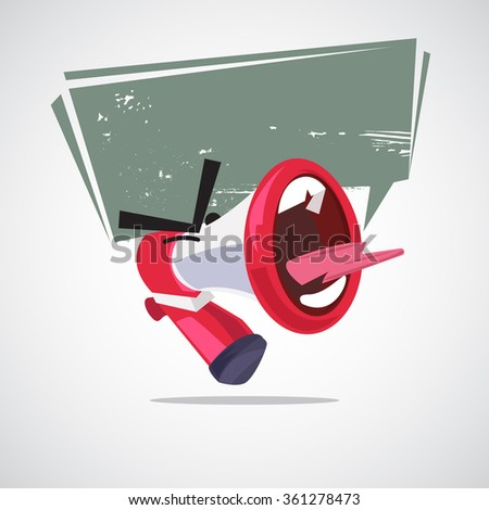 yelling out megaphone character design with speech bubble. attention concept - vector illustration - stock vector