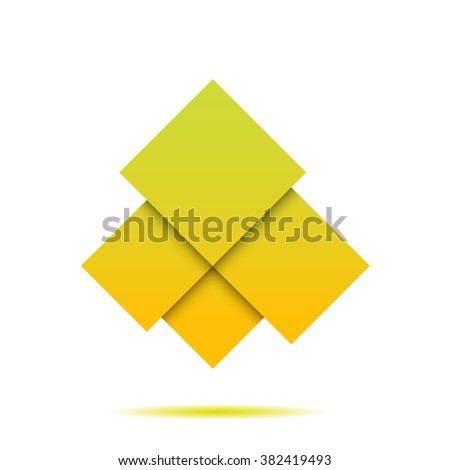 Yellow abstract squares geometric composition on white bg for your design - stock vector