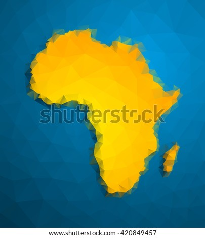 yellow African continent. Image  Africa Icon Vector.  - stock vector