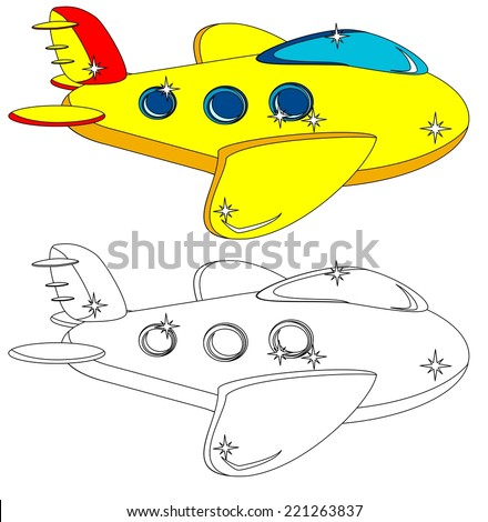 Yellow Aircraft With Portholes, Some Do Not Painted For A Children's Coloring Books, Vector Illustration - stock vector