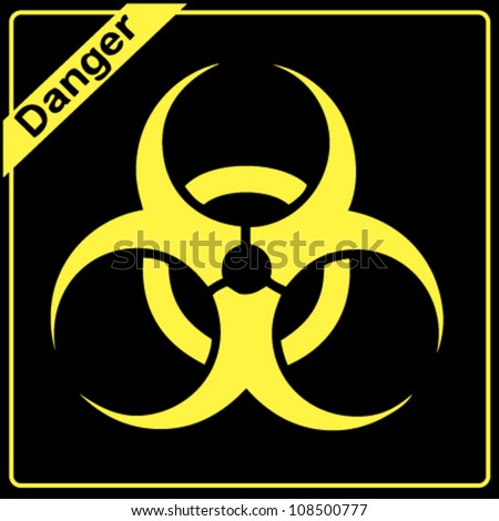 Yellow and black bio hazard - stock vector