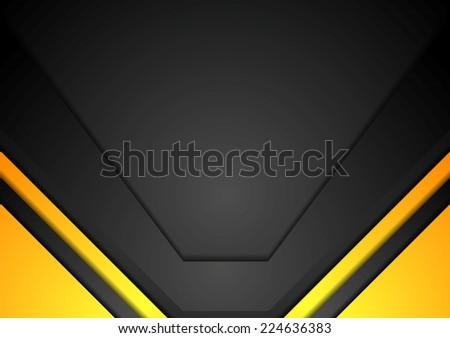 Yellow and black corporate art background. Vector design - stock vector