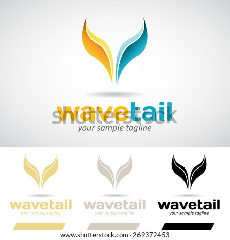 Yellow and Blue Fish Tail Logo Icon Vector Illustration  - stock vector