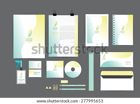 yellow and blue with curve graphic corporate identity template  for your business includes CD Cover, Business Card, folder, ruler, Envelope and Letter Head Designs - stock vector