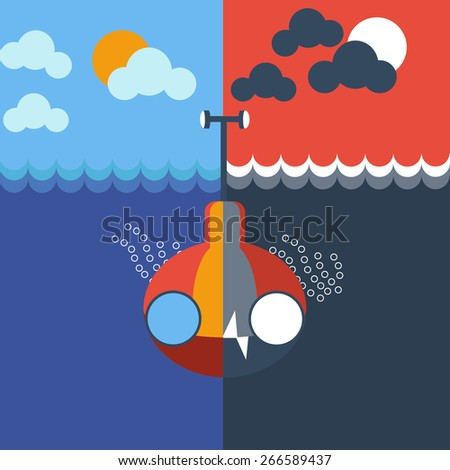 Yellow and gray submarine mix underwater, front view. Two different color schemes. Kids book picture. Digital background vector illustration.  - stock vector