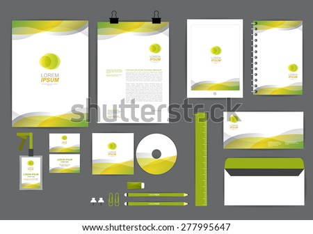 yellow and green with curve graphic corporate identity template  for your business includes CD Cover, Business Card, folder, ruler, Envelope and Letter Head Designs - stock vector