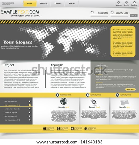 Yellow and grey website template - stock vector