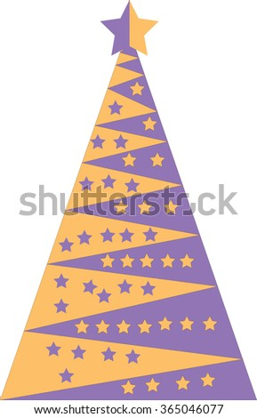 Yellow and purple Christmas tree with stars, vector illustration - stock vector