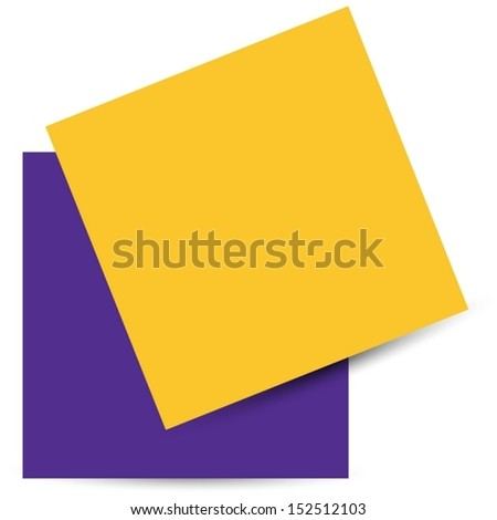 Yellow and purple stick note isolated on white background. Vector illustration EPS10 - stock vector