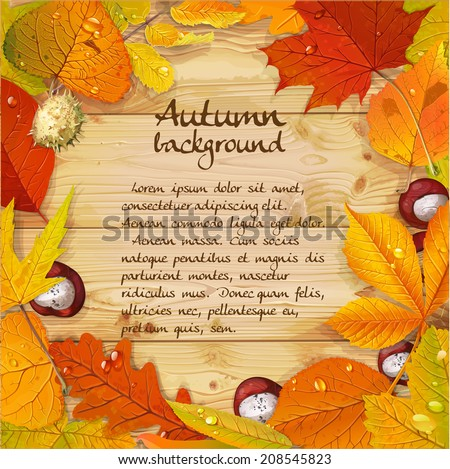 Yellow and red autumn leaves and chestnut wood background for your text - stock vector