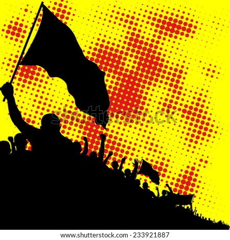 yellow and red background with crowd silhouette - stock vector