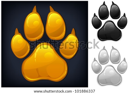 Yellow animal paw print isolated on black, vector illustration - stock vector
