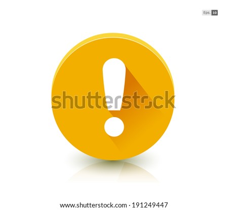 Yellow Attention Button Symbol - stock vector