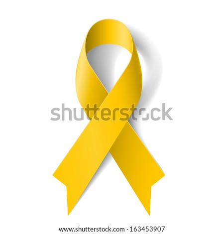 Yellow awareness ribbon on white background. Bone cancer and troops support symbol. - stock vector