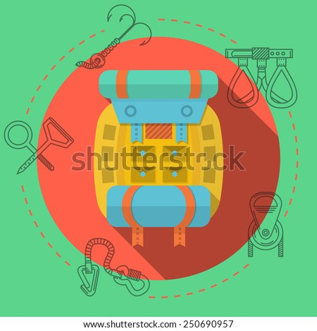 Yellow backpack with blue tent and hiking mat on red icon with black contour outfit elements around. Flat color vector illustration for rock climbing on green background.  - stock vector