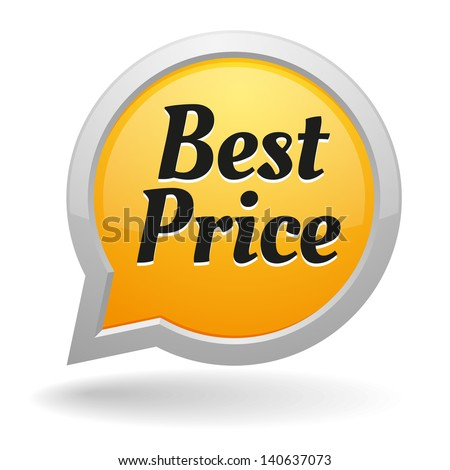 Yellow best price speech bubble - stock vector
