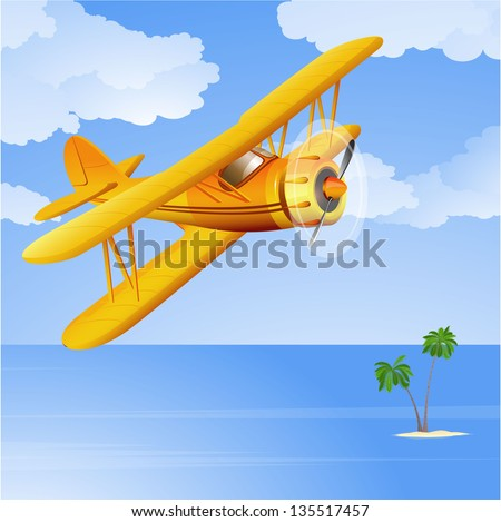 Yellow biplane in the tropical sky. Vector. - stock vector