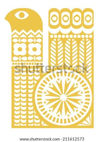 Yellow bird silhouette in scandinavian style. Design element - stock vector