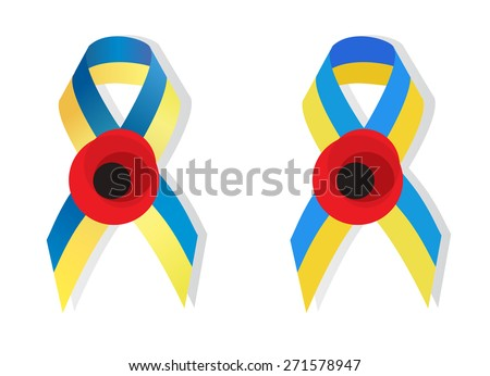 Yellow blue ribbon colors of the national flag of Ukraine and poppy flower symbol of the memory of World War 2 awarenes - stock vector