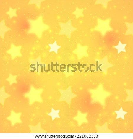 Yellow blurred shining stars vector seamless pattern - stock vector
