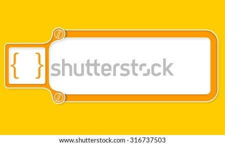 Yellow box with white frame for your text and square brackets - stock vector