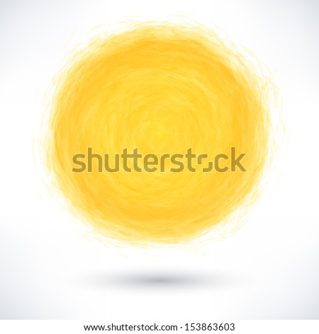 Yellow brush stroke in the form of a circle with gray drop shadow on white background. Drawing created in ink sketch handmade technique. Vector illustration clip-art design element save in 10 eps - stock vector