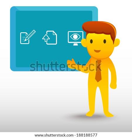 Yellow businessman presentation - stock vector