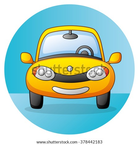 Yellow car icon, front view. - stock vector