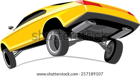 yellow car rear view isolated on white - stock vector