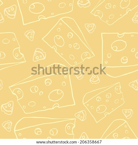 Yellow cheese seamless pattern. Vector illustration, EPS 10. - stock vector