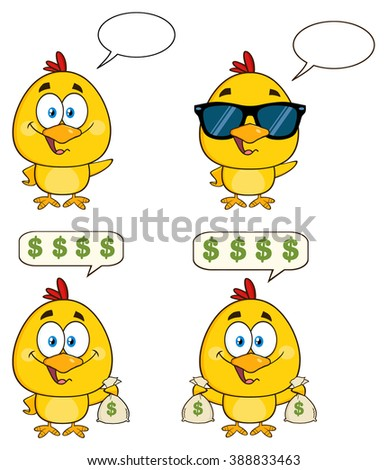Yellow Chick Cartoon Character 12. Vector Collection Set Isolated On White - stock vector