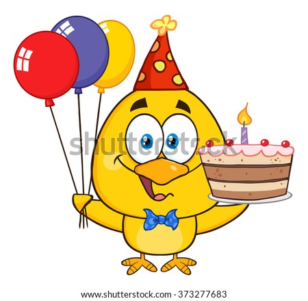 Yellow Chick Cartoon Character Wearing A Party Hat And Holding Balloons And a Birthday Cake Vector Illustration Isolated On White - stock vector
