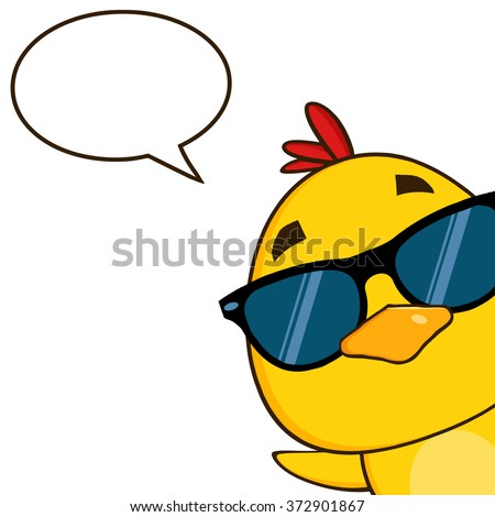 Yellow Chick Cartoon Character Wearing Sunglasses And Peeking Around A Corner With Speech Bubble. Vector Illustration Isolated On White - stock vector
