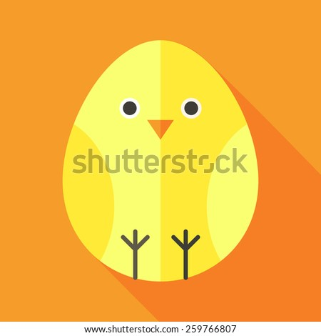 Yellow chick egg shaped. Flat stylized illustration with shadow - stock vector