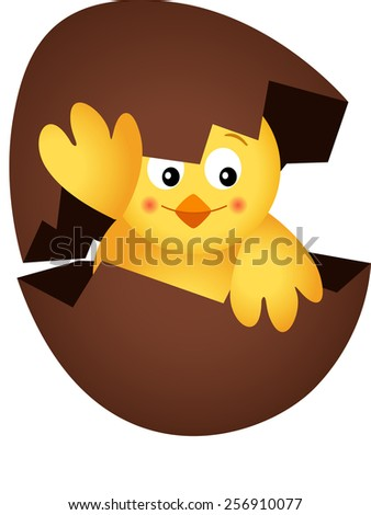 Yellow Chick in a Chocolate Egg - stock vector