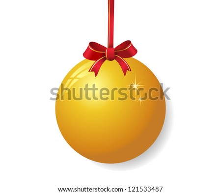 Yellow christmas ball with red bow - stock vector