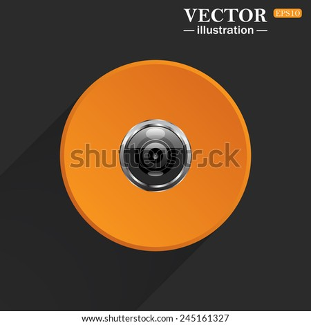 Yellow circle on a black background with a shadow, camera, vector illustration, EPS 10 - stock vector