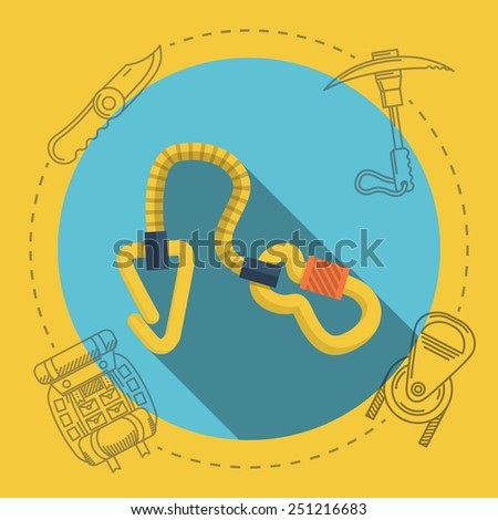 Yellow climbing gear on blue icon with gray contour outfit elements around. Flat color vector illustration for rock climbing on yellow background. Long shadow design - stock vector