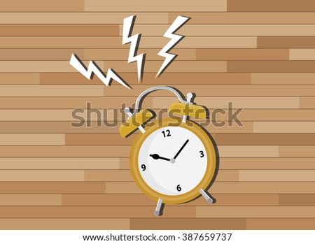 yellow clock deadline with wood background - stock vector