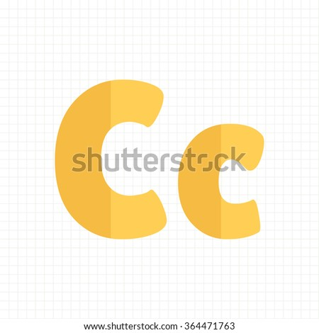 yellow color alphabet letters C - stock vector