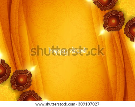 Yellow color card design for Diwali festival with beautiful lamps. - stock vector