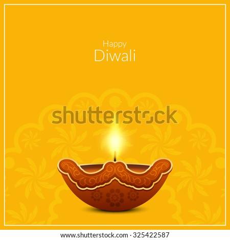 Yellow color vector background design for Diwali festival - stock vector